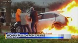Caught on camera: good Samaritans rescue woman from fiery car crash