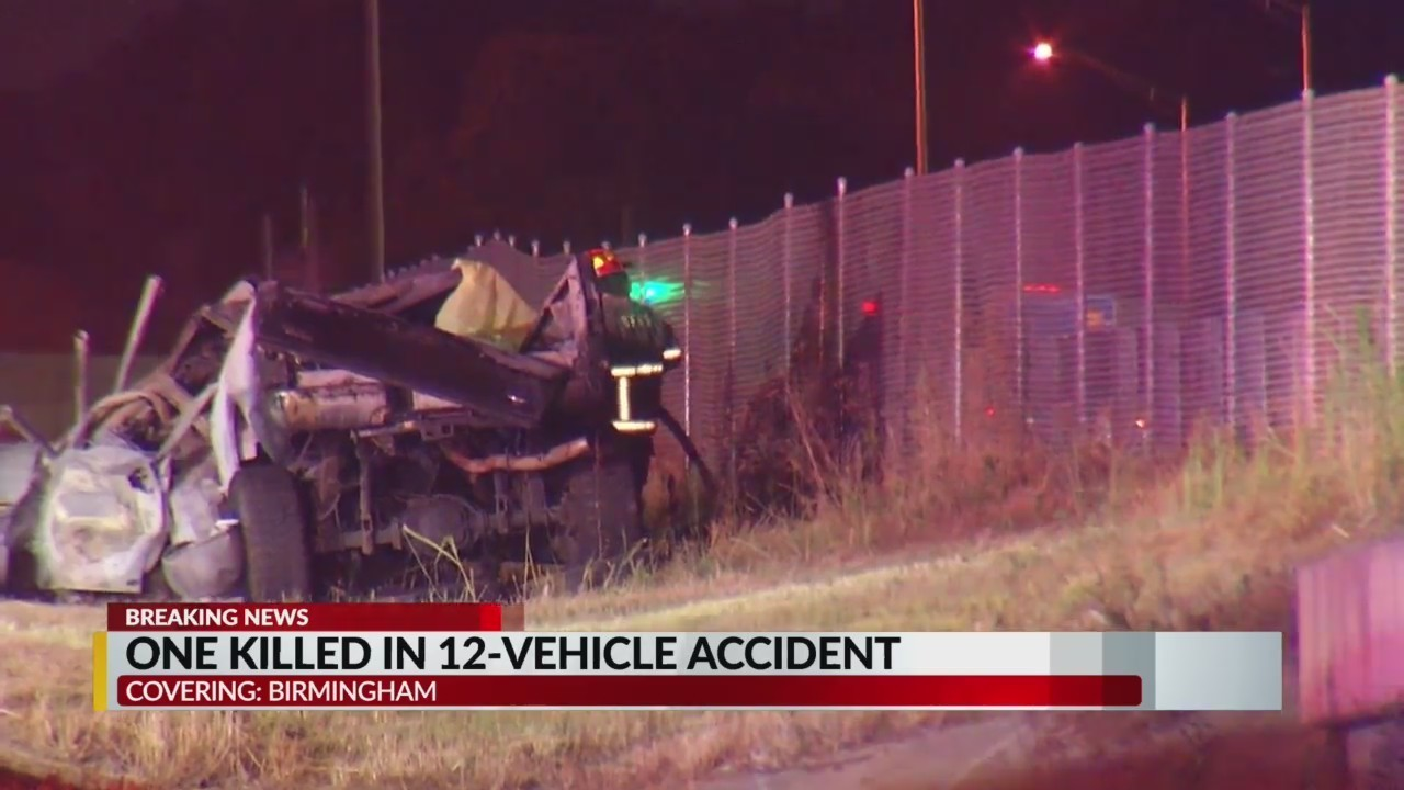 One killed In 12-vehicle crash